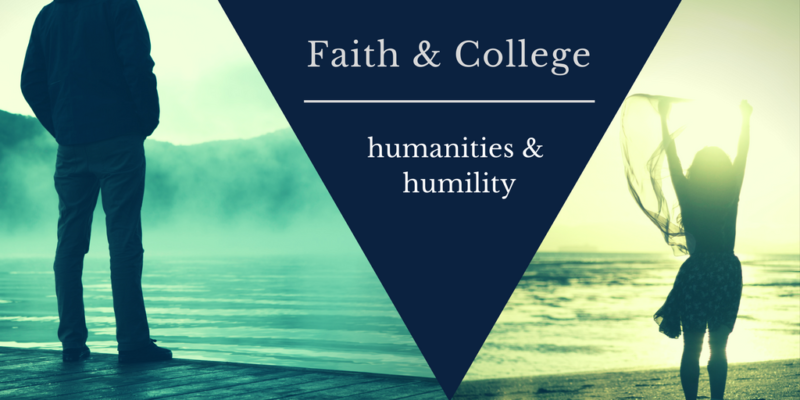 faith & college, humanities & humility, man gazing at the water, girl at the coast with hands in the air