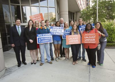 Dr. Sloan with HBU students, faculty and staff protesting the HHS mandate