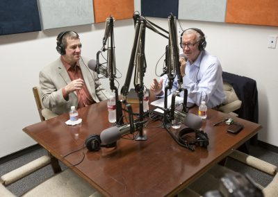 Robert Sloan and Lee Strobel in HBU's Radio Studio