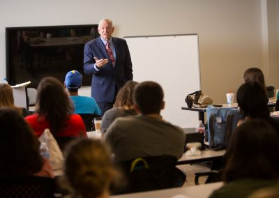 Dr. Sloan speaking to students in the HBU Honors College