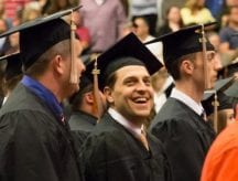 pictured is a osteopathic medicine student at commencement before receiving his hood