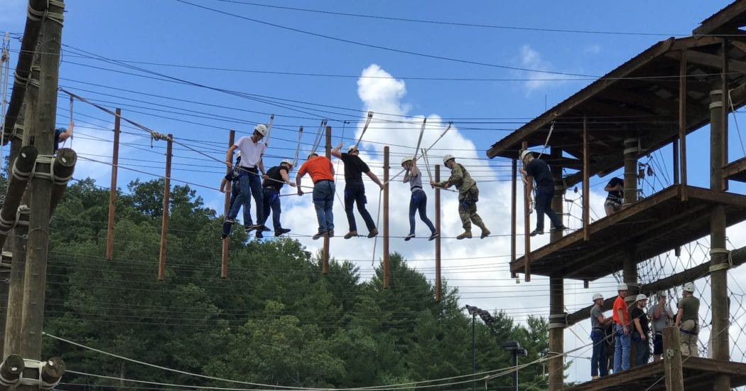 UPIKE Army ROTC students participating in rope training.