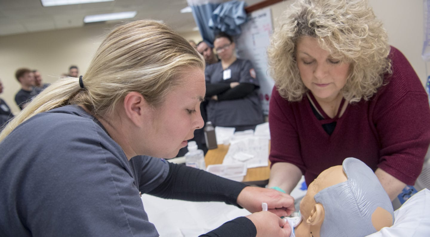 UPIKE Nursing students participate in simulator training on campus