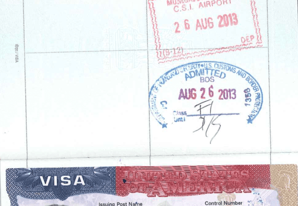 SAMPLE of a US Entry Stamp granted to an F-1 student.