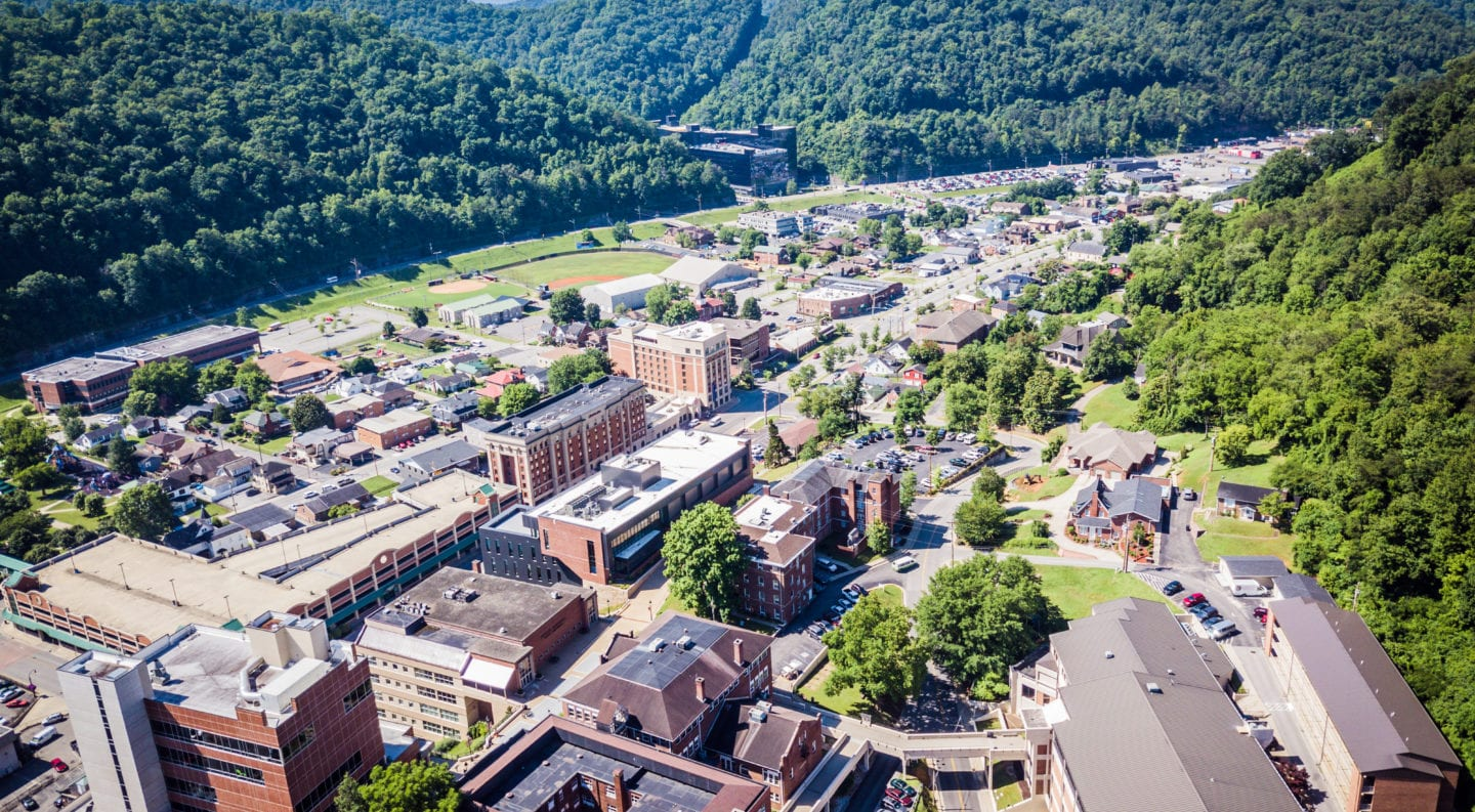 Aerial drone shot on campus and downtown pikeville, ky