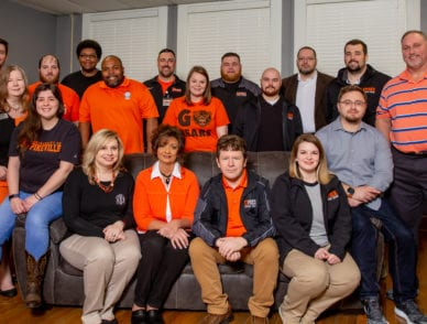 The deparment of student affairs staff pictured together on campus