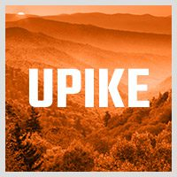 upike button for events has mountains in background with upike logo in front