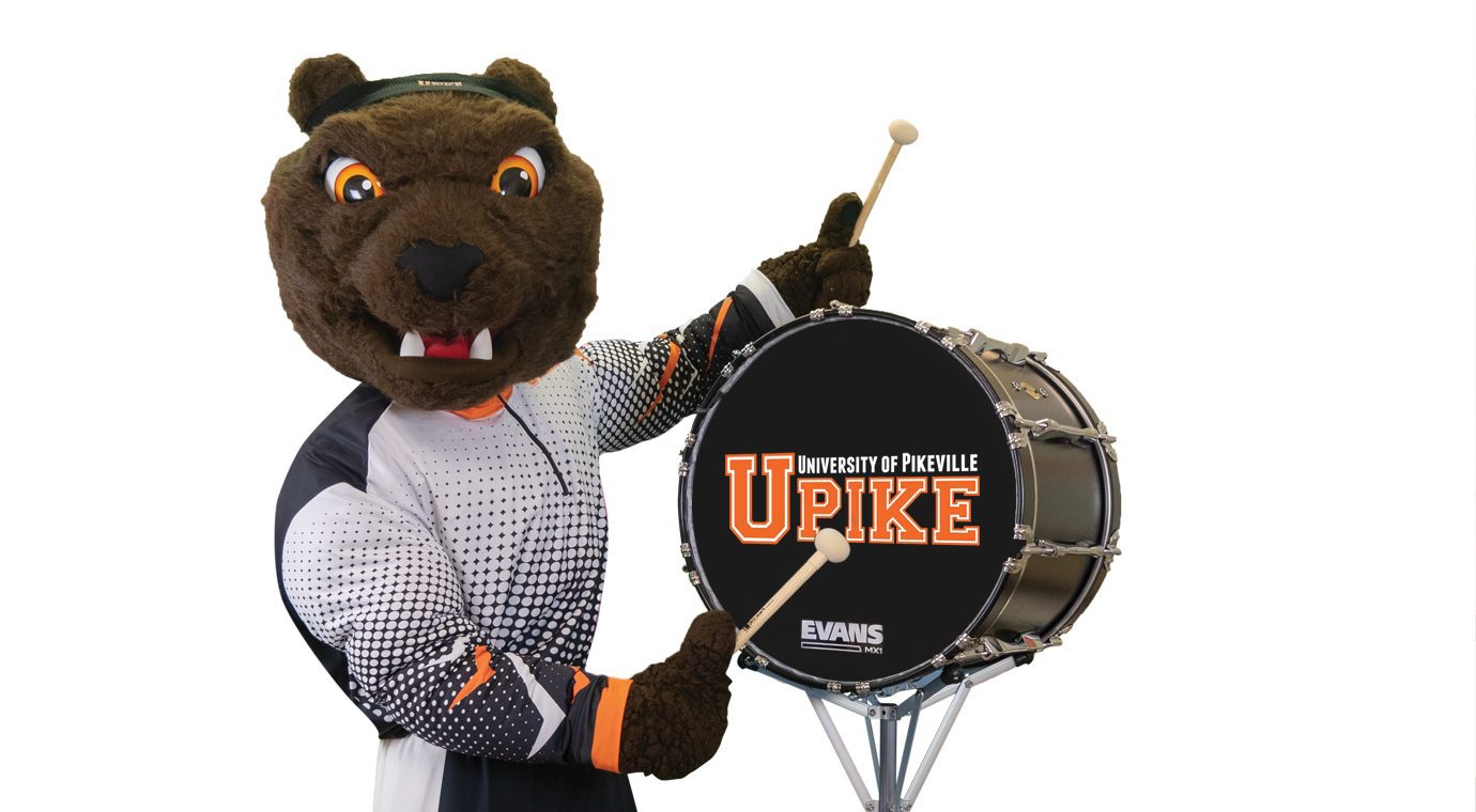 mascot playing drums