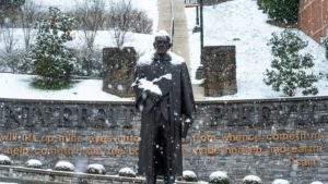 Snow on Patton Statue
