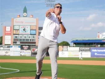 President Webb throws out the first pitch