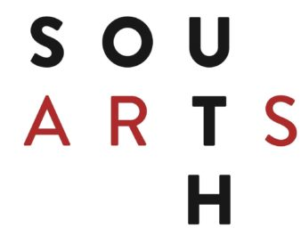 South Arts Logo. Black and red text.