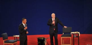 Senators Barack Obama and John McCain on the stage for the 2008 Town Hall Presidential Debate