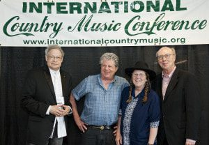 Authors and journalists at the conference, left to right, are James Akenson, Si Kahn, Sue Massek and co-host Don Cusic.