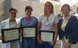 Pictured from left are undergraduate nursing students Gabrielle Pappas, Sarah Steele, Jennifer Bognar and Dr. Leslie Folds, associate professor of nursing.