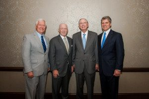 (L to R: Belmont President Dr. Bob Fisher, McWhorter Society Chairman, Inductee Clayton McWhorter and William Carpenter, Former Nashville Health Care Council Chairman)