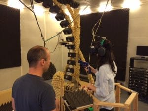 Student Allie Monday experiences virtual reality research in the Psychoacoustics and Experimental Audiology Lab in Vienna