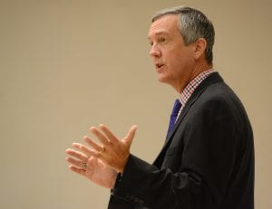 Tennessee Secretary of State Tre Hargett speaks in the Beaman Student Life center at Belmont University in Nashville, Tenn. September 7, 2016