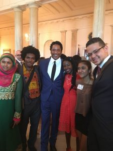 Mukhopadhyay pictured with American rapper Q-Tip inside the White House