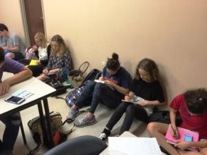 "Students gather to write letters of gratitude to service men and women serving over seas. This was part of The Bert Show's ""Big Thank You"" event."