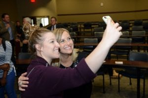 Mayor Barry takes a 'selfie' with a student at the 2016 Diversity Week Keynote Address.
