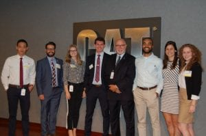 The five competing students, Dr. Raines and two 2016 Belmont business alumni who now work for Caterpillar Financial