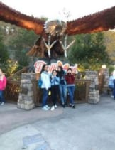 Estelle, Verona, Olivia and Ivy standing in front of a Dollywood sign