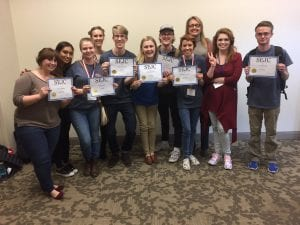 Belmont Vision staff members hold their awards at the Southeast Journalism Conference