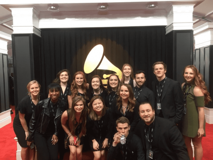 Student volunteers at the GRAMMYs