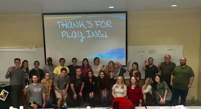 The group shot at the professor and student trivia game!