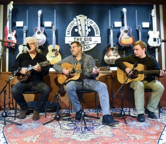 Ricky Skaggs, Vince Gill and Belmont student Ben Valine, perform during the grand opening of the Gallery of Iconic Guitars at Belmont University in Nashville, Tenn. April 25, 2017.