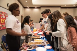 Students trying world cuisine at World Culture Fest
