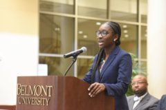 Shania Jones takes over as SGA President at Belmont University in Nashville, Tenn. April 24, 2017.