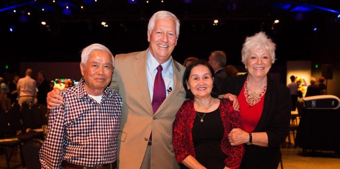 Photo by Brad Moore / B.MOORE VISUALS. retired Belmont employees John and Nancy Le with University President Dr. Bob Fisher and Mrs. Judy Fisher.