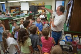 Steve Murphree hosts Show and Tell with campers in the Bugs, Beetles and Butterflies Camp