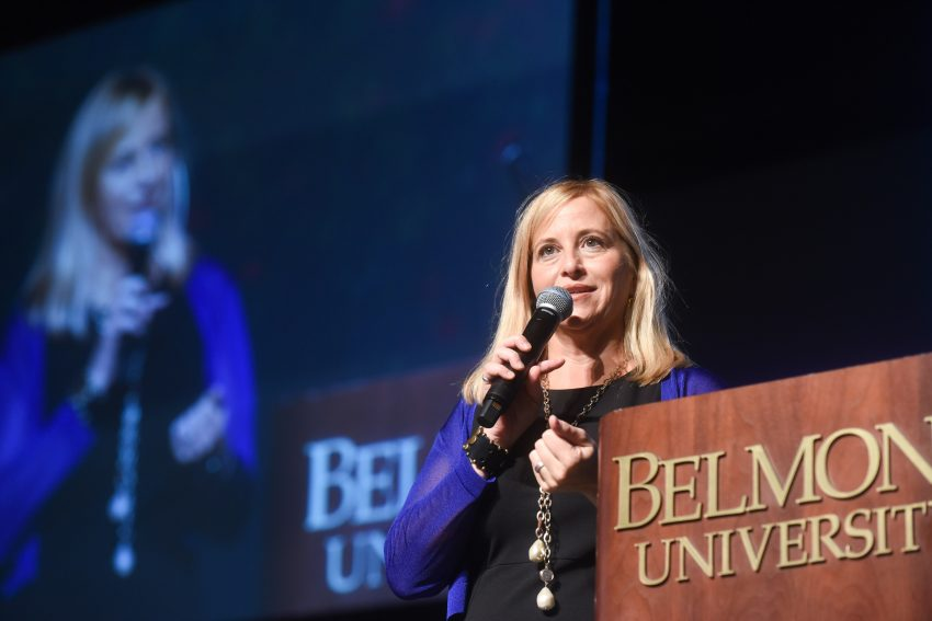 Mayor Megan Barry speaks at SERVE Kick Off at Belmont University in Nashville, Tenn. August 22, 2017.