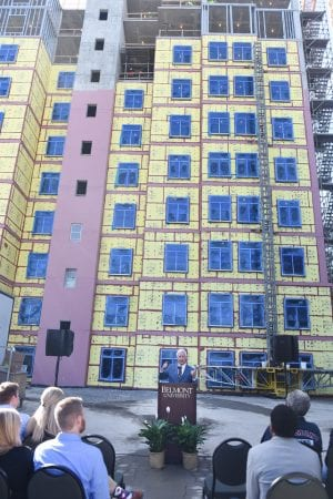 """Dr. Fisher speaks during the celebration """"topping out"""" of the new Hall Hall dorm at Belmont University in Nashville, Tenn. October 20, 2017."""