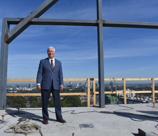"Dr. Fisher celebrates the ""topping out"" of the new Hall Hall dorm at Belmont University in Nashville, Tenn. October 20, 2017."