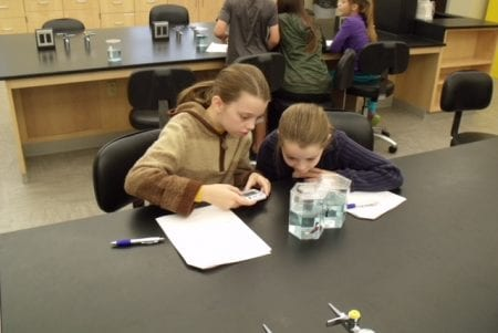 two young girls at a lab table, concentrating on their the fish jar in front of them
