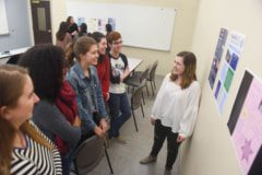 Global Leadership Studies classes present posters.