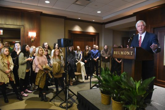 Dr. Bob Fisher makes the announcement that Belmont is acquiring Franklin-based OÕMore College of Design, bringing new programs in fashion and interior design, as well as fashion merchandising, to this campus in an announcement by Shari Fox and Dr. Bob Fisher at Belmont University Nashville, Tennessee, February 13, 2018.