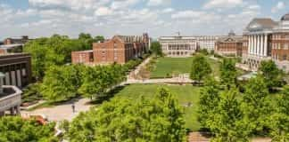 Aerial view of Belmont's quad