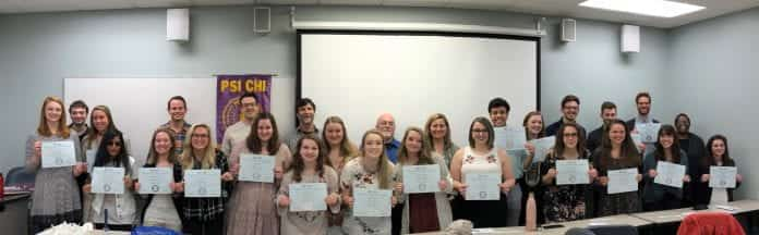 Students inducted in Psi Chi on Belmont's campus