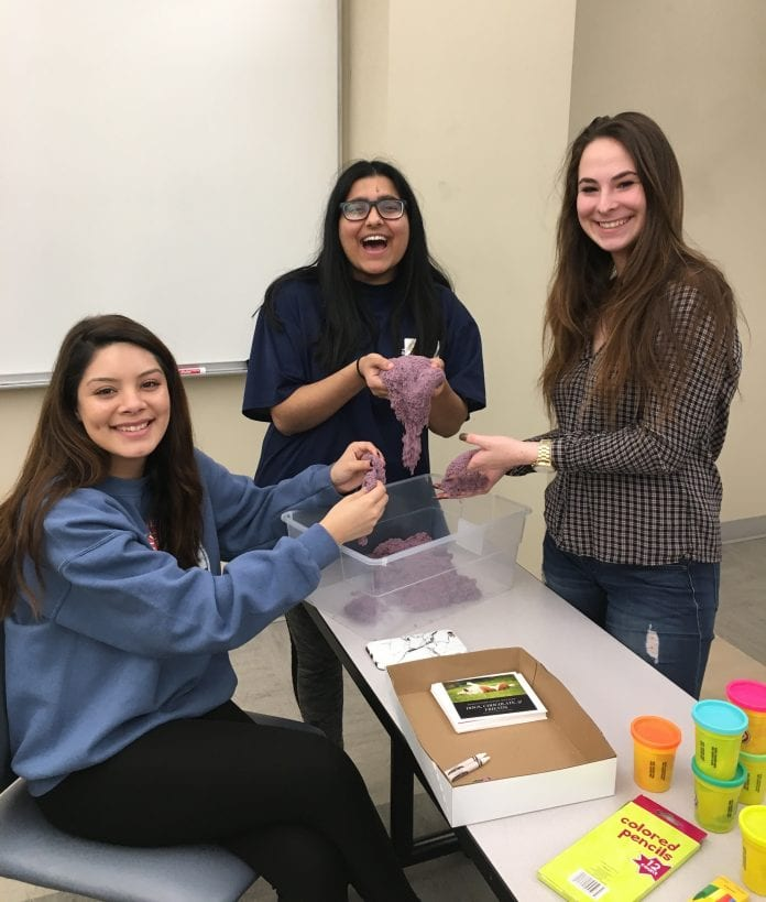 Students play with play doh at a brain awareness week event on Belmont's campus!