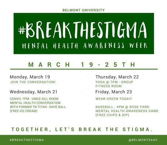 Mental Health Awareness Week Infographic listing dates and times for event.