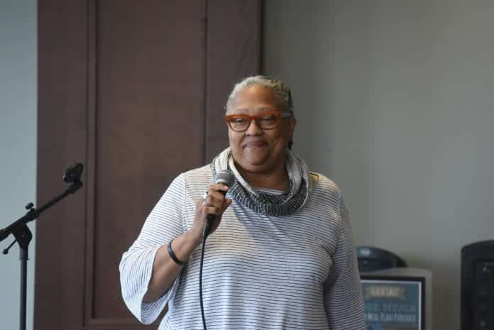 Dean Emilie Townes speaks at Belmont University in Nashville, Tennessee, April 3, 2018.