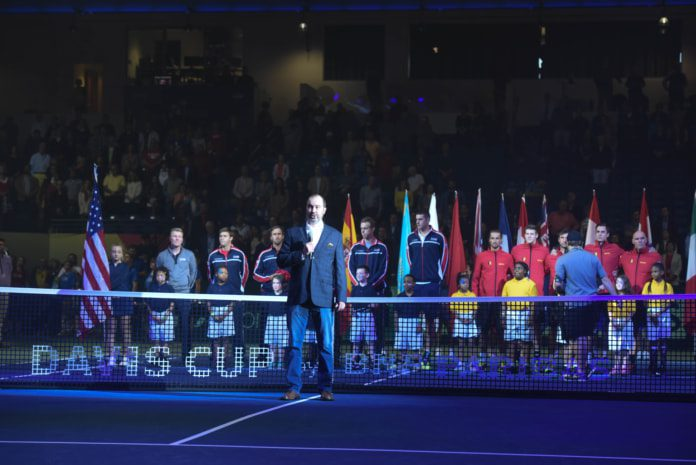 Mark Whatley performs the National Anthem at the Davis Cup on Friday night