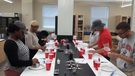 On-campus residents participate in the science lab