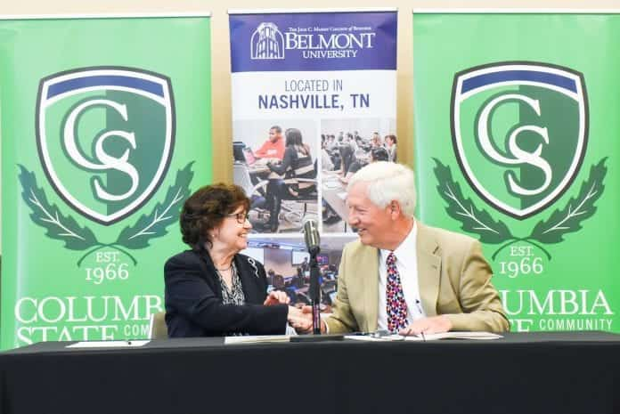 Columbia State President Dr. Janet Smith and Belmont University President Dr. Bob Fisher sign the articulation agreement.