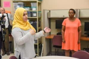 Iman shares her group's work with Mayor David Briley