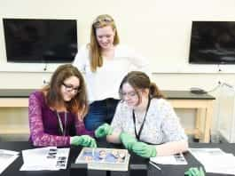 Neuroscience department is running a summer camp for students dissecting eyes and brains at Belmont University in Nashville, Tennessee, June 19, 2018.